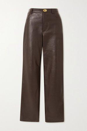 Brown Leather straight-leg pants | Bottega Veneta | NET-A-PORTER