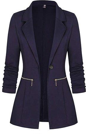 Genhoo Women's Open Front Lightweight Work Office Blazer Jacket Dark Grey L at Amazon Women's Clothing store