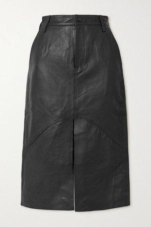 Bocca Leather Midi Skirt - Black