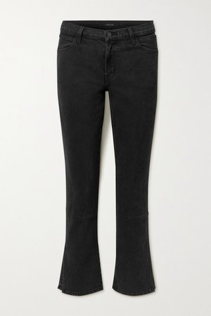 Cropped Mid-rise Straight-leg Jeans - Black