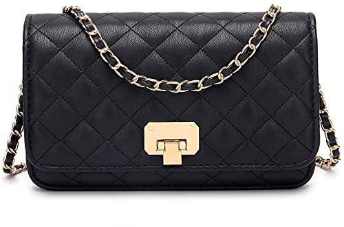 Women Black Quilted Purse Lattice Clutch Small Crossbody Shoulder Bag with Chain Strap Leather: Handbags: Amazon.com
