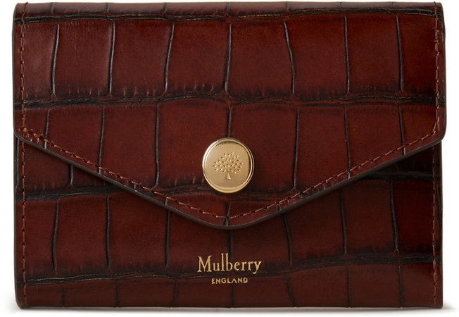 Folded Croc Embossed Leather Wallet