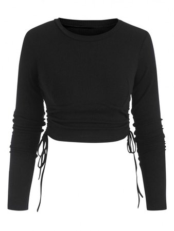 [39% OFF] 2021 Ribbed Side Cinched Crop Top In BLACK | ZAFUL