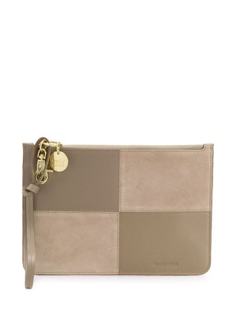 See By Chloé Panelled Logo Clutch Bag - Farfetch