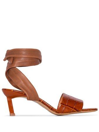 Ganni Wrap Ankle 45Mm Sandals S1060 Brown   Farfetch