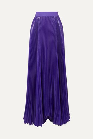Purple Katz pleated metallic silk-blend maxi skirt | Alice + Olivia | NET-A-PORTER