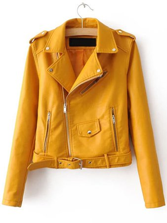 Yellow Faux Leather Belted Moto Jacket With Zipper | ROMWE