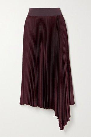 Asymmetric Pleated Crepe Midi Skirt - Burgundy
