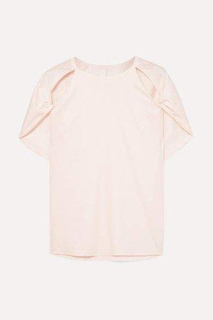 Cutout Cotton-jersey T-shirt - Pastel pink