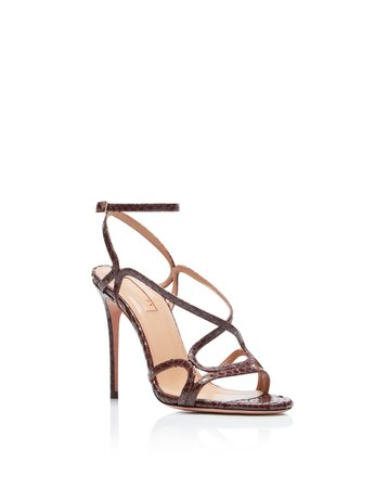 Violetta Sandal 105 In CHOCOLATE PRINTED LEATHER