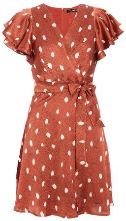 *Quiz Rust Red Satin Polka Dot Skater Dress