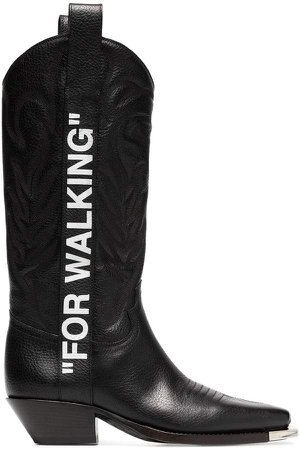 black For Walking 40 leather western boots