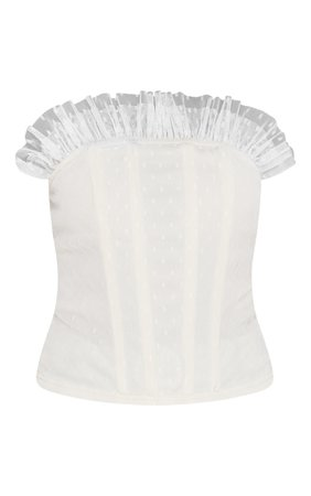 White Dobby Mesh Frill Bandeau Corset Top   PrettyLittleThing