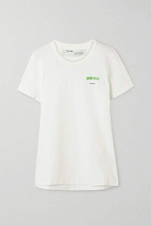 Off White Printed Cotton-jersey T-shirt