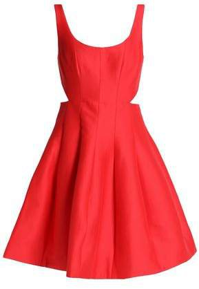 Flared Cutout Cotton And Silk-blend Dress