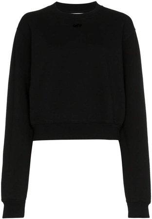 arrow applique cotton cropped sweatshirt