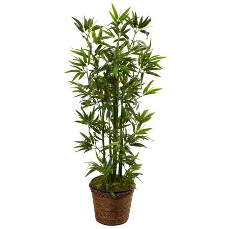 Nearly Natural Indoor Bamboo Artificial Tree in Coiled Rope Planter 5808 - The Home Depot