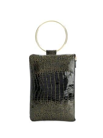 Tara Zadeh Ziba Glitter Croco Clutch Bag - Farfetch
