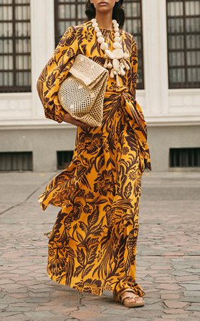 Traditional Landscape Printed Silk Maxi Dress By Johanna Ortiz   Moda Operandi