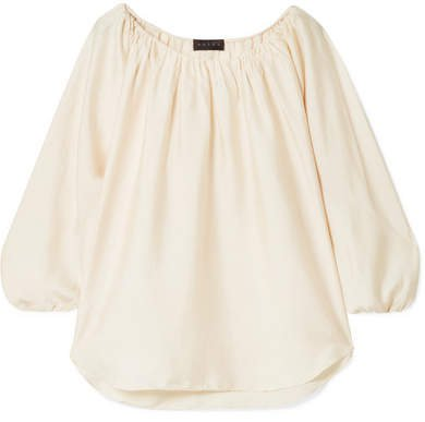 The Deanna Gathered Crinkled-satin Top - Ivory