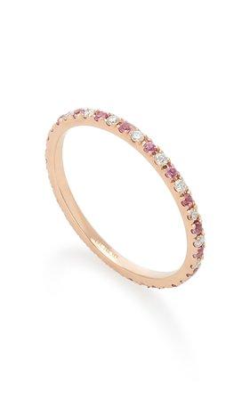 14K Rose Gold Diamond and Sapphire Eternity Ring by EF Collection   Moda Operandi