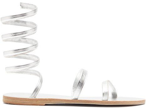 Offis Spiral-strap Metallic-leather Sandals - Silver