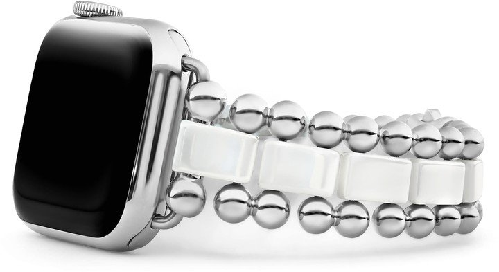 Smart Caviar White Ceramic & Stainless Steel Watchband for Apple Watch(R)