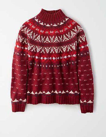 AE Fairisle Mock Neck Sweater red