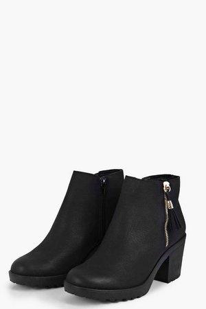 Fringe Trim Block Heel Chelsea Boots | boohoo