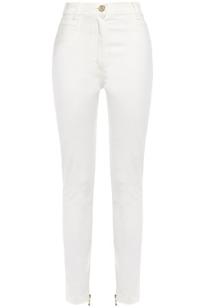 White Stretch-cotton twill slim-leg pants | Sale up to 70% off | THE OUTNET | BALMAIN | THE OUTNET