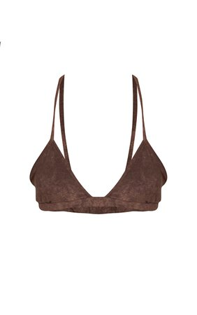 Brown Towelling Bikini Top | Swimwear | PrettyLittleThing USA