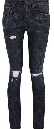 Callen Distressed Snake-print Low-rise Skinny Jeans