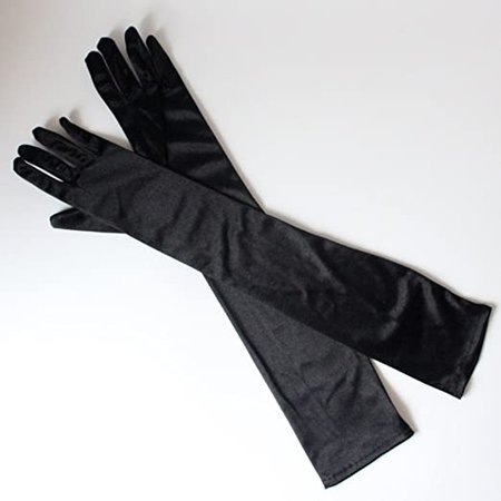 """Amazon.com: Ladies Elbow Length 21"""" Long Satin Gloves Evening Party Stage 1920s Gloves Adult Size (Black): Clothing"""