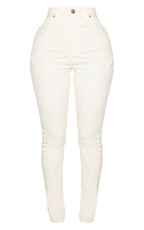 Shape Ecru High Waisted Skinny Jeans | Curve | PrettyLittleThing USA