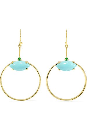Ippolita | Marquise Baby 18-karat gold turquoise and tsavorite earrings | NET-A-PORTER.COM