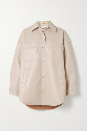 Cream Martin vegan leather shirt   Nanushka   NET-A-PORTER