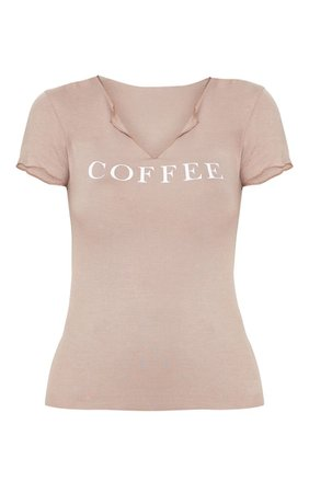 Mocha Coffee Slogan Fitted T Shirt | Tops | PrettyLittleThing