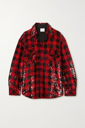 Oversized Checked Sequined Cotton Shirt - Red