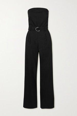 Strapless Belted Linen-blend Jumpsuit - Black
