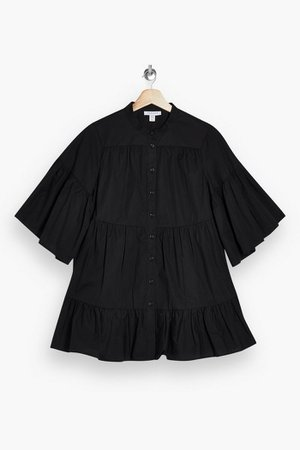 Black Tiered Poplin Blouse | Topshop