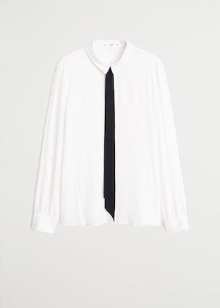 Tie-neck blouse - Women   Mango USA