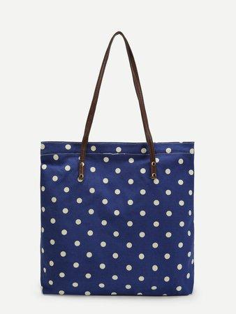 Polka Dot Print Tote Bag