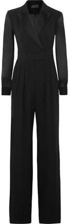 Silk Chiffon-paneled Crepe Jumpsuit - Black
