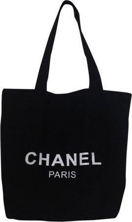 Chanel Bag Fabric Black Canvas Tote - Tradesy