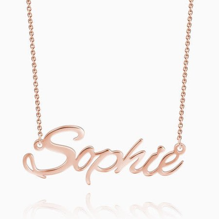 Rose Gold Plated Silver Script Name Necklace - Gifts