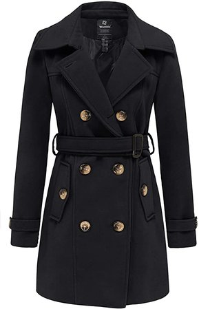 Wantdo Women's Double Breasted Pea Coat Trench Coat with Belt Black