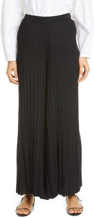 Architectural Pleated Crop Wide Leg Sweater Pants