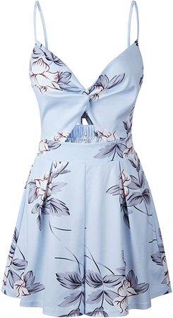 Amazon.com: Angashion Women's Sexy V Neck Printed Spaghetti Strap Beach Romper Shorts Jumpsuit XS-3XL: Clothing