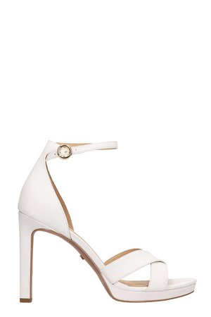 Michael Kors White Leather Alexia Sandals