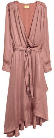 Satin Wrap Dress - Pink